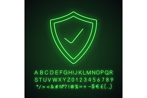 Security check neon light icon