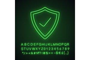 Security check neon light icon