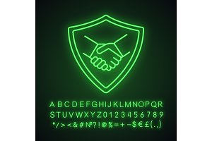 Safe bargain neon light icon