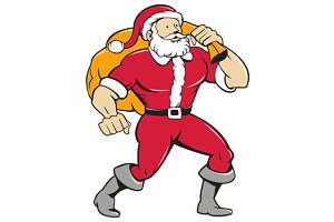 Super Santa Claus Carrying Sack Isol