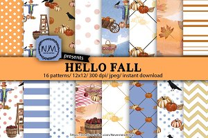 Hello Fall Watercolor Paper Pack