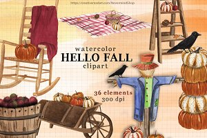 Hello Fall watercolor clipart kit