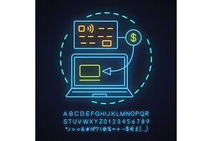 Cashless payment neon light icon