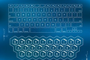 Futuristic outline keyboards