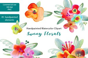 Sunny Flowers watercolor graphics