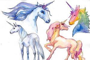 Fabulous unicorns horse PNG set