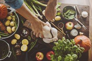 Preparing healthy dinner cooking pro