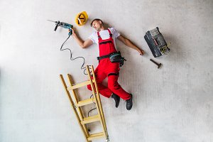 An accident of a man worker at the