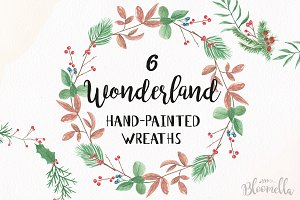 Watercolor Festive Wreath Garlands