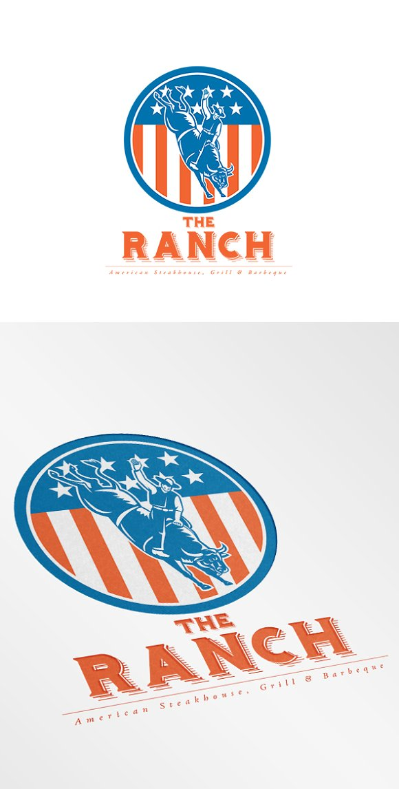 The Ranch American Steakhouse Logo Logo Templates On