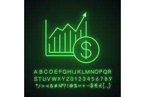 Market growth chart neon light icon