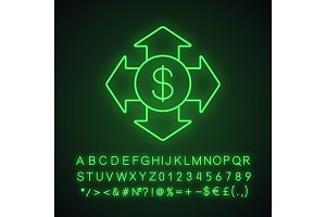 Money spending neon light icon