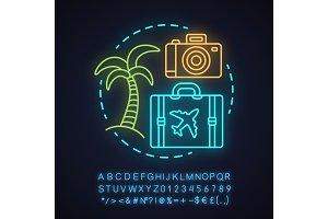 Travel agency neon light icon
