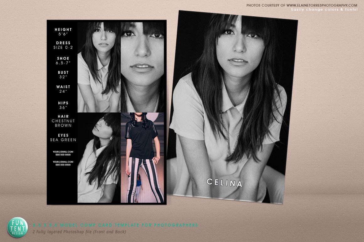Model Comp Card X Fashion Presentation Templates Creative - Model comp card template