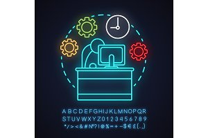 Time management neon light icon
