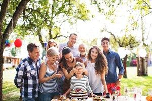 Family celebration or a garden party