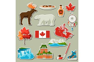 Canada sticker icons set.