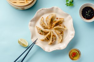 Gyoza dumplings with duck