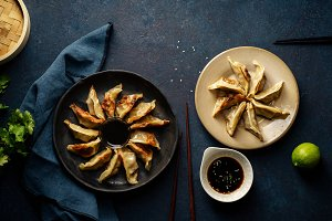Fried gyoza dumplings with duck