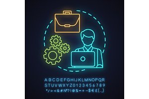 Programmer neon light concept icon