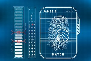 Modern fingerprint scan with charts