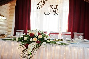 Wedding table of newlyweds with deco