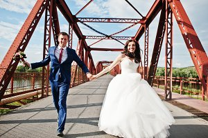 Wedding couple in love stay at red r