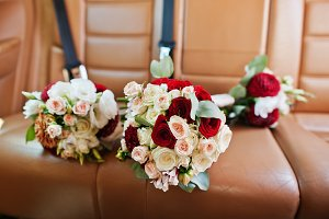 Three wedding bouquets at the back s
