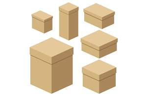 Isometric craft boxes of different