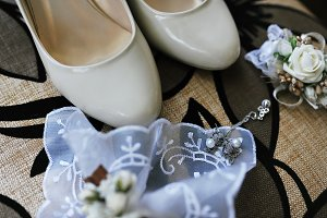 White wedding shoes for bride with a