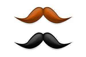 Mustache illustration. Vector brown