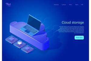 Isometric cloud data storage web