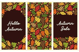 Cute set of Autumn Leaves vertical