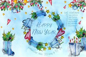 Winter holiday PNG watercolor set