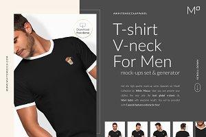 Men Vneck T-shirt Mock-ups FREE DEMO