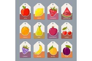 fruits tags. fresh healthy food