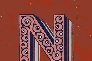 letter N vintage typography style