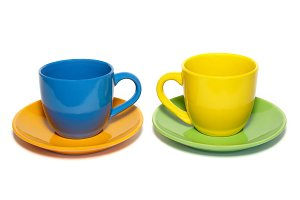 Colored teacups and saucers