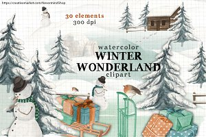 Winter Wonderland watercolor clipart