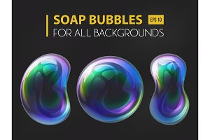 3d realistic soap or water bubbles