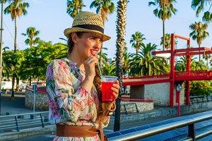 traveller woman on embankment in Bar