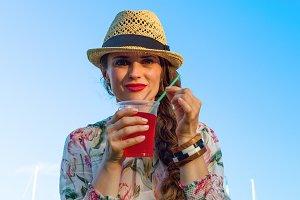 tourist woman on embankment in Barce