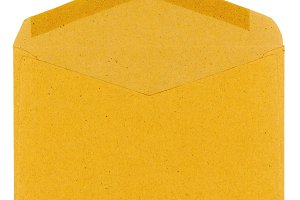 brown mail letter envelope over whit