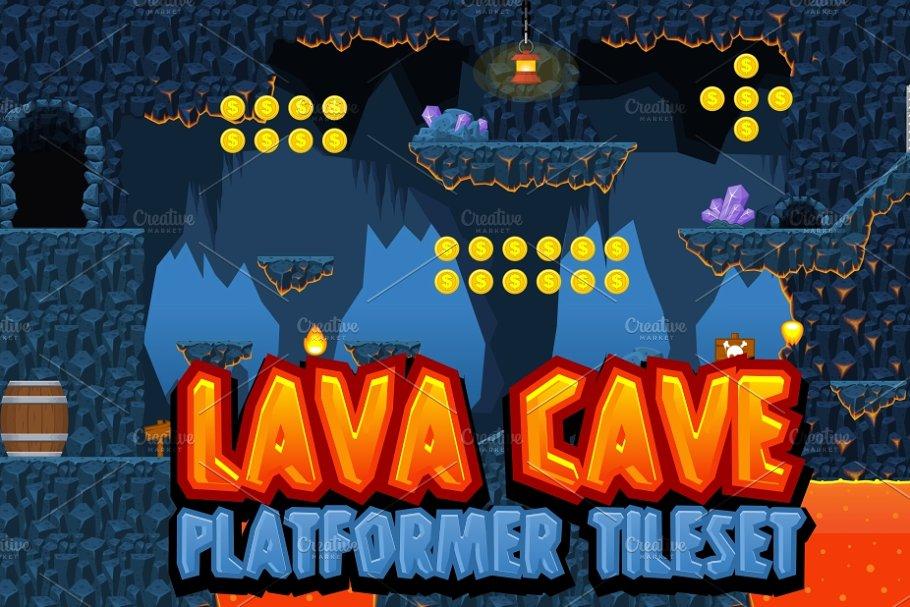 Lava Cave - Platformer Tileset ~ Illustrations ~ Creative Market
