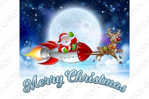 Santa Claus Rocket Sleigh Merry