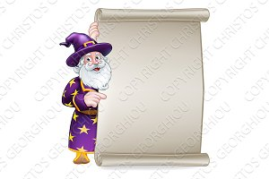 Wizard Cartoon Scroll Banner Sign