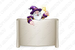 Wizard Cartoon Character Scroll Sign
