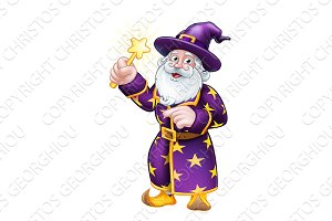 Wizard with Wand Pointing Cartoon