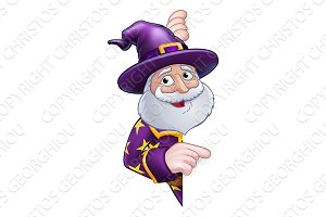 Wizard Cartoon Peeking Round Sign