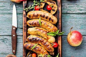 Tasty grilled pork sausages